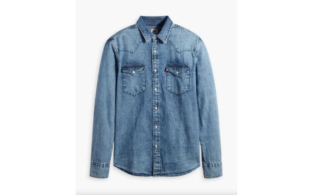 Levi's Men's Standard Barstow Western Long-Sleeve Denim Shirt (Artisinal Repair, Large)