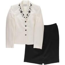 Tahari ASL Kyle Crepe Embellished Neck Skirt Suit (Ivory White/Black, 8)