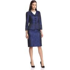Tahari ASL Ronnie Jacquard Skirt Suit (Black/Royal, 8)
